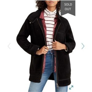 Madewell Faux Shearling Cocoon Coat City Grid Coat